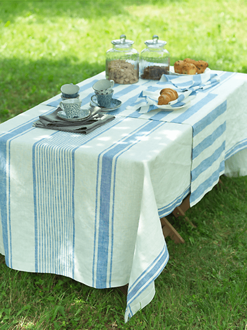 TUSCANY TABLECLOTH BLUE PREWASHED LINEN From Linen Me