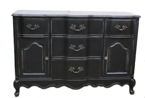 Bassett French Provincial Buffet Painted Black