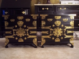 A Pair of Chests I painted (removed the hardware first) and then attached the hardware again.  They are beyond stunning