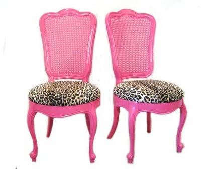 Fabulous Pair Hot Pink Vintage Cane Back French Slipper Chairs From Fabulousmess On Esty
