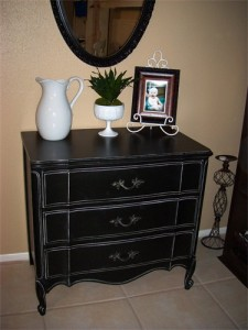 Gorgeous French Black Distressed Dresser By Altard