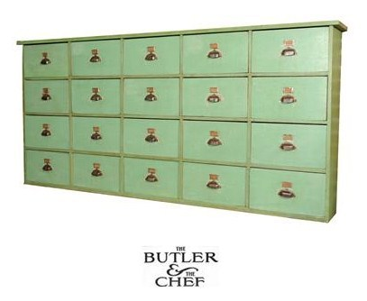 Large 20 drawer green painted wood grain cupboard From The Butler & The Chef