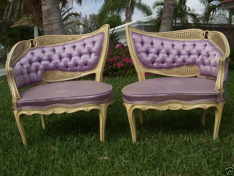 PAIR HOLLYWOOD REGENCY FRENCH BERGERE CHAIR EAMES ERA Ebay Seller Vintage  Lauderdale