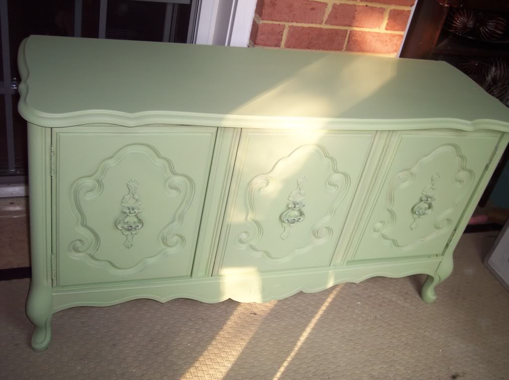 Pretty mint green french provincial cabinet for Mint green furniture paint