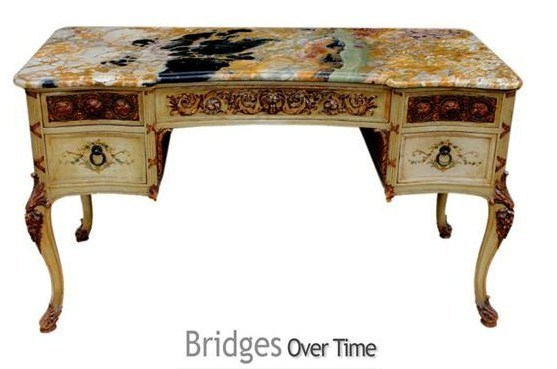 beautiful marble topped french 1920 39 s painted wood desk by bridges
