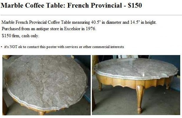 Marble Coffee Table French Provincial