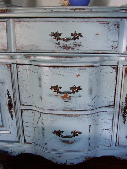Bon .Antique Blue French Provincial Buffet Hutch