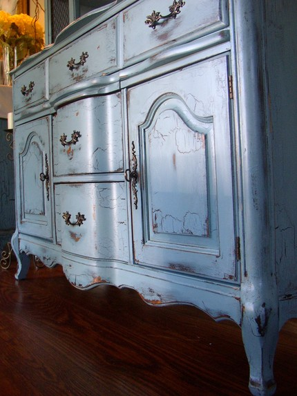 antique blue french provincial buffet