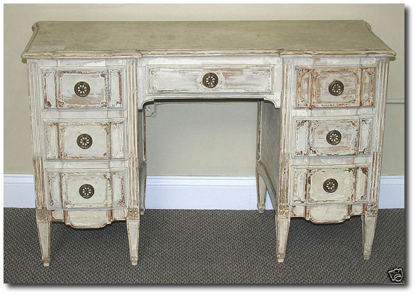 Attributed Jansen Distressed White French Vanity Desk By