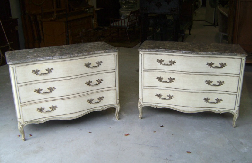 Henredon French Louis Xv Style Marble Top Dressers From One Of A Kind Antiques