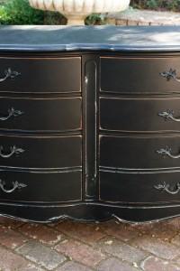 Shabby Chic style Paris Chic Black Distressed 6 Drawer Dresser — NEW ITEM