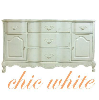 Vintage French Provincial White Painted Cottage Server