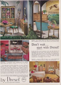 drexel dining room furniture 1960 | 1960s DREXEL Furniture DINING Room Bedroom SET AD