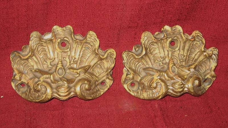 Pr. Antique Nautical Shell Brass Hardware Drawer Pulls From Kyle's Antiques  New Jersey - French Provincial Furniture Hardware