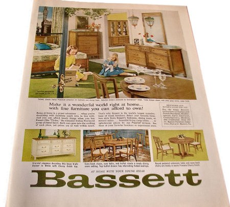 1965 BASSETT Ticino BEDROOM U0026 DINING ROOM FURNITURE AD WHITEMTNHOWDY VINTAGE  ADS