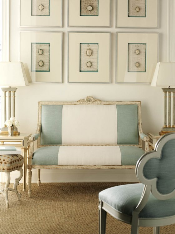 French provincial decorating ideas settee upholstered with wide stripe designer suzanne kasler - French provincial design ideas ...