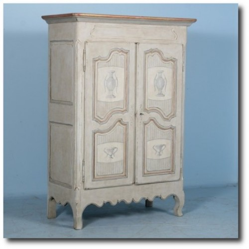 Captivating Antique French Armoire RARE Gold White c1920′s Capital Legs
