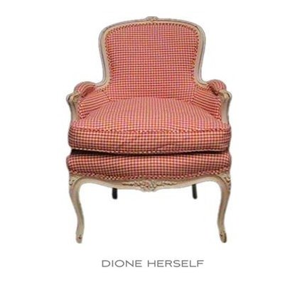 French Red Check Bergere Chair