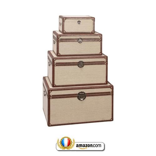 Set Of Four Classy Wood Burlap Decorative Storage Trunks