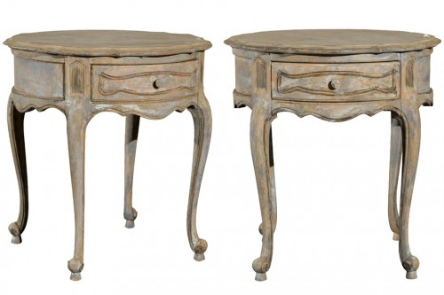 A Pair of Custom painted Side Tables- Tyner Antiques