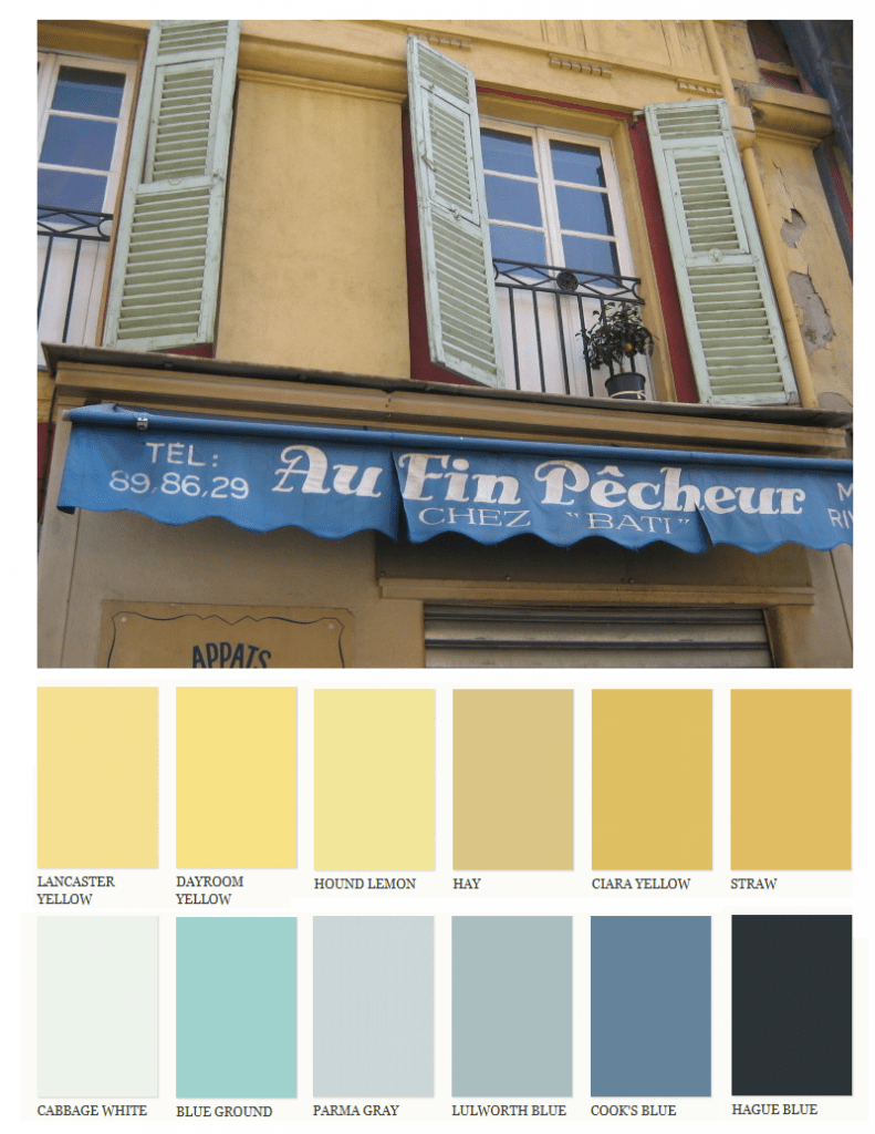 Lighter muted yellows with pastel blue shutters and for French provincial colors