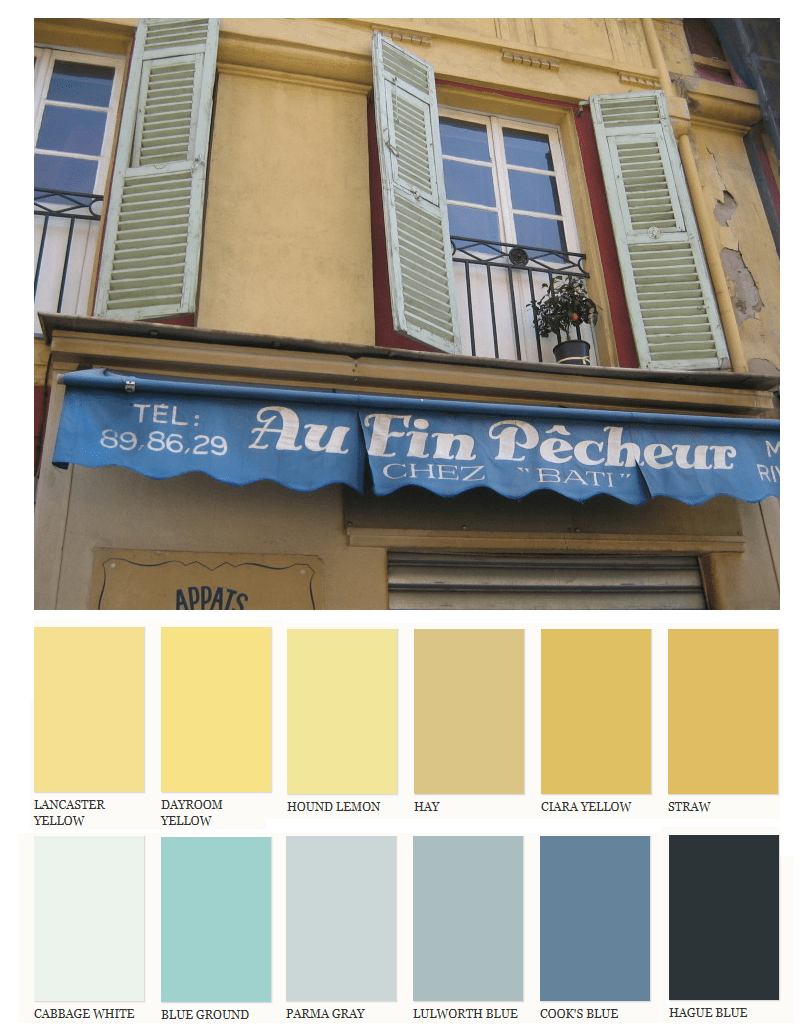 lighter muted yellows with pastel blue shutters and