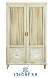 French Provincial Painted Diminutive Armoire from Christies $1,500