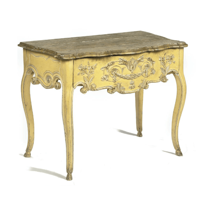 French Provincial Yellow Painted Marbleized Console Table