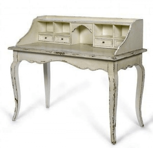 - Antique White French Secretary Desk