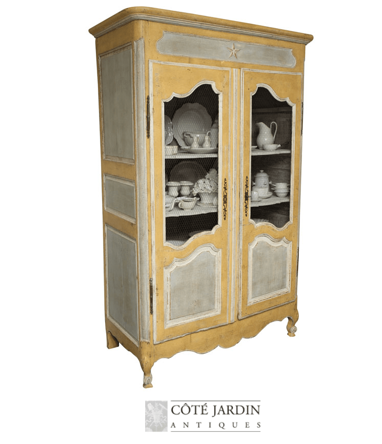 yellow painted provencal armoire