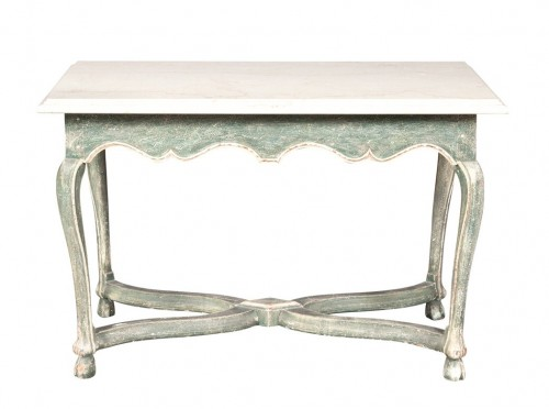 Provincial Style Marble Top Painted Side Table