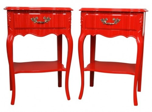 Pair of Red Glamour Dorothy Draper Style Nightstands 1st dibs