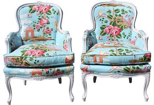 Scalamandre- China Rose on pair of Begere Chairs