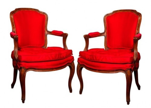 Set of 2 French Louis XV style walnut armchairs Greenwich Living