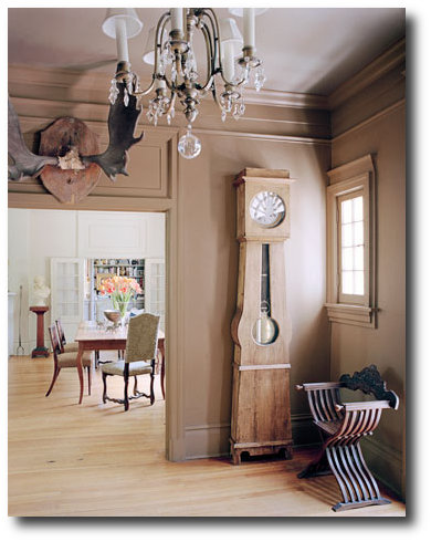 Richard Norris and Mark Leslie's Montgomery, Alabama House Beautiful- 19th-century French grandfather clock.