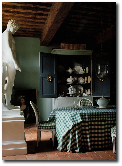 dining room at an 18th century manor house in burgundy. The World of Interiors, Jun 2005