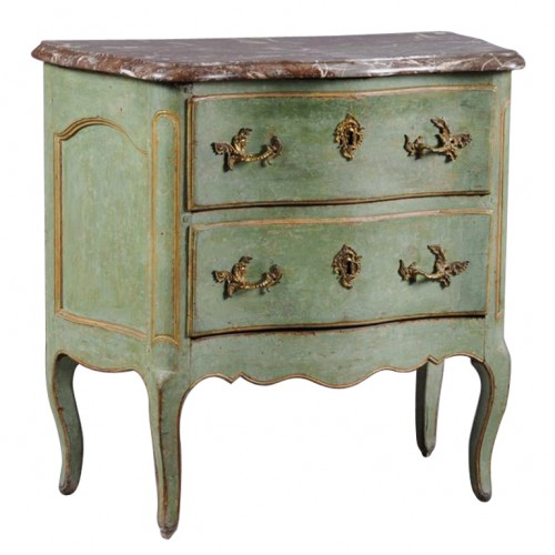 A Fine Louis XV Painted and Parcel-Gilt Commode Bermingham and Co 1st dibs