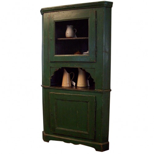 Antique French Green Corner Cupboard.