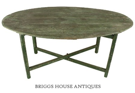 Antique French Green-Painted Oval VendageTable