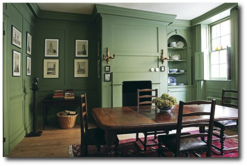 Farrow & Ball Calke Green on walls.