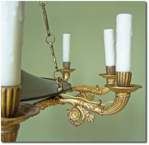 French Empire D'Ore Bronze Nine Arm Chandelier