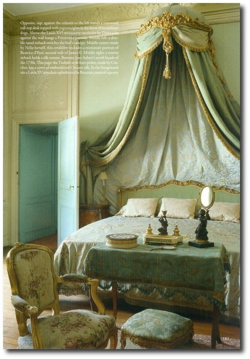 Private apartment at Chateau de Chales, established as a Paris museum in 1875 by Nelie Jacquemart in the Louis XVI empress style. World of Interiors Sept 2011