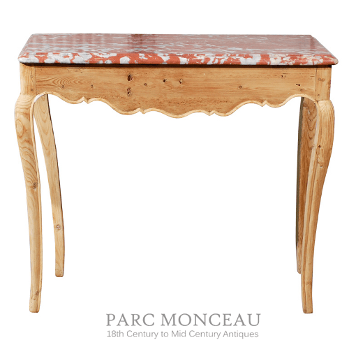 18thC Provincial Pine French Table With Coral Marble
