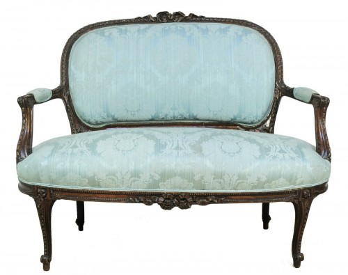 Antique French Louis XV Style Carved Wing Back Settee Sofa Jansen Style Vtg