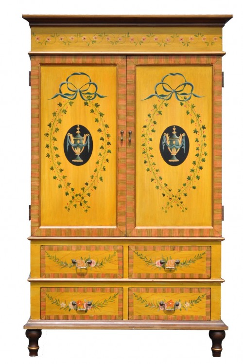 French Country Adams Styl Decorator Painted Yellow Entertainment Cabinet Armoire