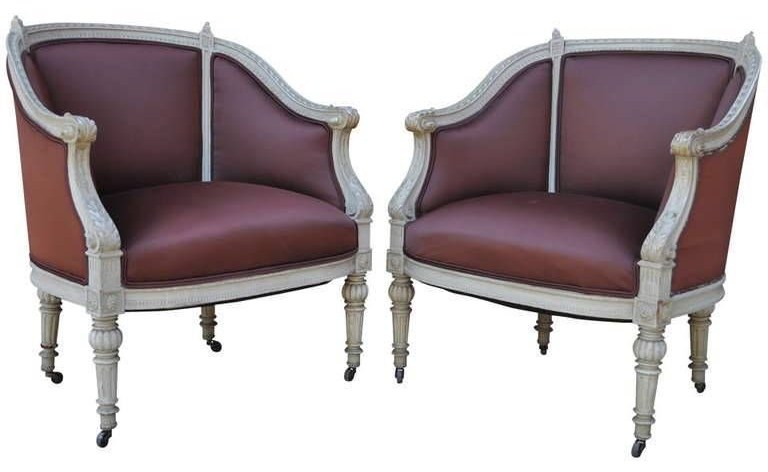 Nice Pair Vtg Petite French Louis XVI Style Carved & Painted Bergere Arm Chairs