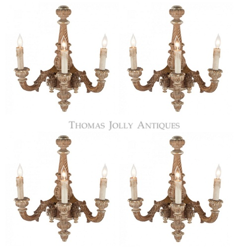 Set Of Four French Carved Wood Three Arm Sconces