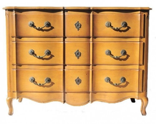 1950s Vtg French Provincial Commode 3 Drawer Chest by Cassard Chateau Romano NYC
