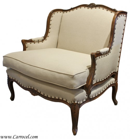 Antique French Country Bergere Living Room Chair From Carrocel Restorations