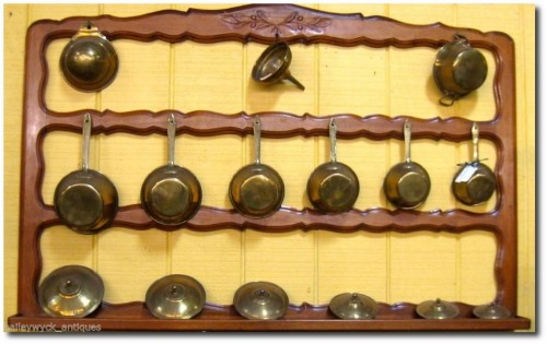 Antique Provincial Pot Wall Rack with Original Brass Pots- Baileywyck Antiques On Ebay